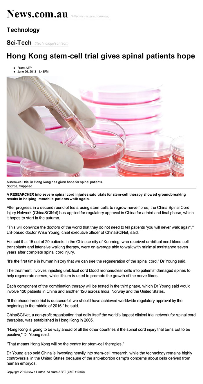Hong Kong stem-cell trial gives spinal patients hope _ Space